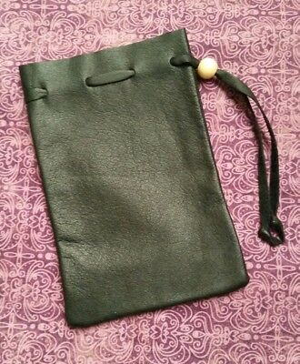 deluxe leather dice coin bag pouch medieval renaissance black drawstring