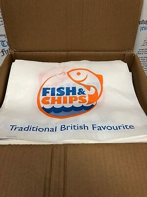 "Fish & Chip Design Bags 14x11"" (Qty 500) Takeaway Bags, Supplies, Wholesale, UK"