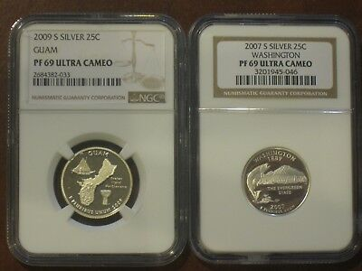 2007 S and 2009 S Silver PF 69 Quarters