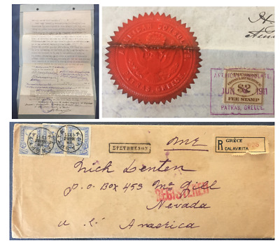 1911 US Consulate Patras Greece Cover & Power of Attorney; $2 Fee Stamp & Seal