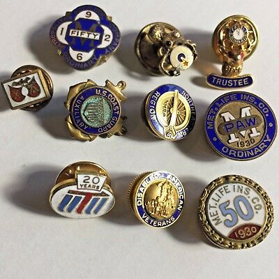 Vintage Screw Back Lapel Pins, Mixed Lot Of 10 - Elk, Cloisonne And Others Pins