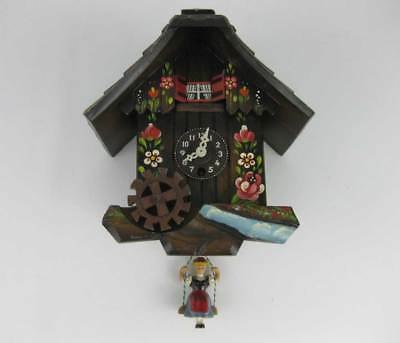Vintage Swiss Black Forest Musical Clock With Girl On Swing Turning Water Wheel