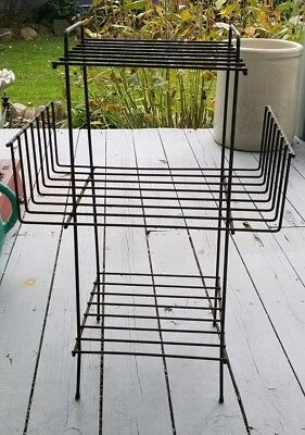 Vintage Mid-Century 3-Tier Wire Metal Plant Stand Telephone Stand 1950s-60s
