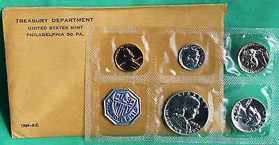 1959 US Annual 5 Coin Proof Set Silver Coins and Envelope with Franklin 50c Half