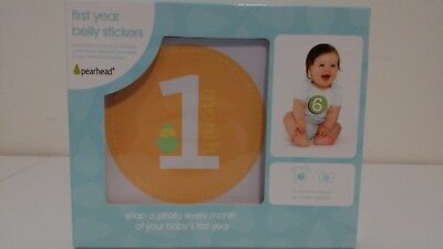 Pearhead First Year Baby Belly Stickers Milestone Photo Sharing Record Growth