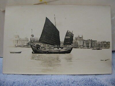 Shanghai China RPPC Real Photo Postcard Junk / Boat on Whangpoo Huangpu River