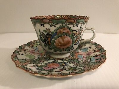 Antique 19th Century Chinese Rose Medallion Porcelain Scalloped Tea Cup & Saucer