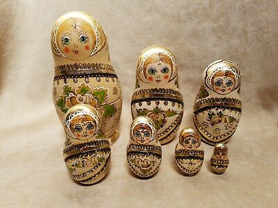 Russian Matryoshka Lot of 7 Wooden Nesting Dolls Hand Painted Signed