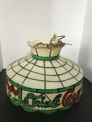 """VINTAGE  COCA-COLA TIFFANY STYLE Hanging LIGHT LAMP SHADE 18"""" WORKING Condition"""
