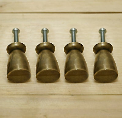 Lot of 4 pcs Vintage Solid Brass Strong Plain Antique Cabinet Drawer Knob Pulls