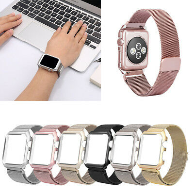 Milanese Stainless Steel Watch Band + Case Cover For Apple Watch SmartWatch P