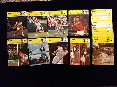 1977-79 Sportscaster Tennis lot (96) dif. w/CONNORS, BORG, LAVER, KING, SHRIVER