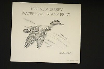 1988 New Jersey WATERFOWL STAMP ROB LESLIE PRINT # 1697