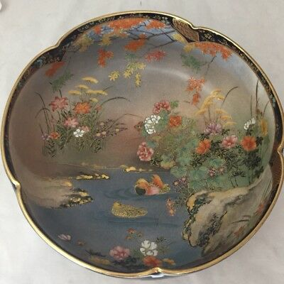 """Antique Japanese Flower Shape Bowl Hand Painted Duck Water Scene Marked 10"""""""