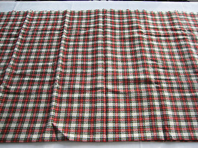 """NOS Vintage Synthetic Wool Fabric Red, Black, Cream Plaid - 95"""" X 58"""""""