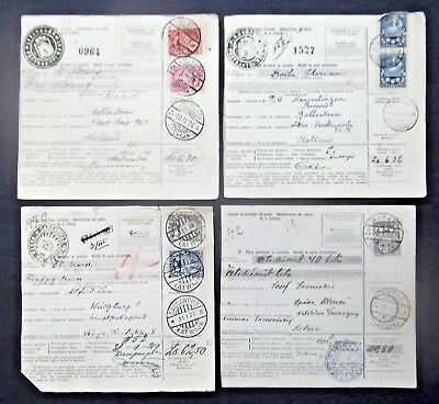 LATVIA POSTAL MONEY ORDER RECEIPTS LOT OF 4 CARDS with FRANKED