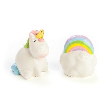 Ceramic Novelty Collectible Salt and Pepper Shakers Shaker Set Unicorn Rainbow