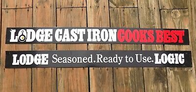Vintage Lodge Cast Iron Skillet Cookware Sign 2 Sided Metal Ad - Lot of 2 Signs