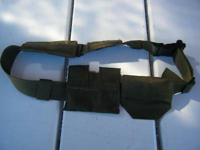 Military AMMO BELT 4 POUCH Field Gear Green Canvas Snap Lock Size Adjustable