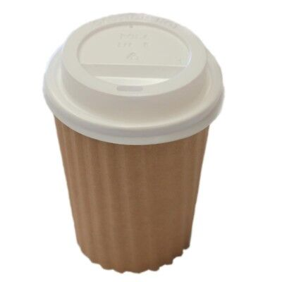 50 Sets x 12oz Brown Ripple Double Wall Coffee Cups And Lids 350ml Disposable