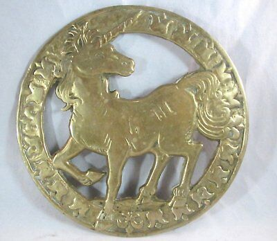 1981 Solid BRASS Unicorn / Horse Trivet Tray
