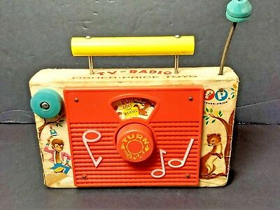 Vintage FISHER PRICE '60s Pop Goes the Weasel TV RADIO Plays Music Wood Toy