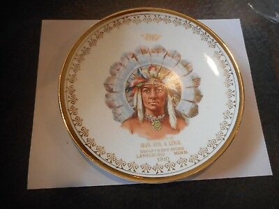 Dated 1910  PORTRAIT PLATE NATIVE AMERICAN INDIAN Lanesboro Mn Advertising