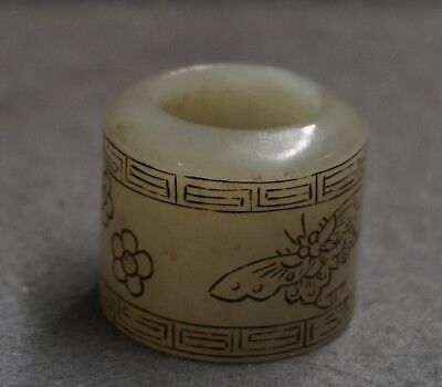 Chinese Exquisite Hand carved butterfly flower pattern Hetian jade Fingerstall