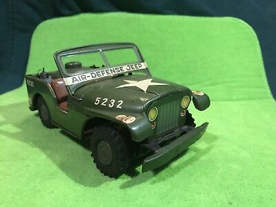Old Toy Vintage Antique Tin Litho Air Defense Military Jeep As Is