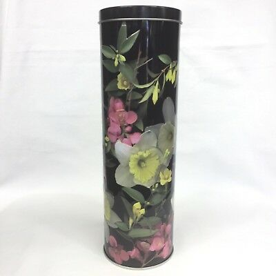 Daffodils Flowers Embossed Black Lolly Biscuit Cookie Cylinder Tall Tin VGUC