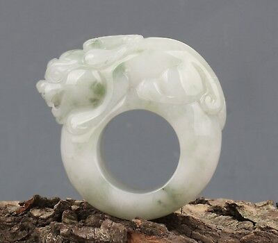 Chinese Exquisite Hand carved Rui Beast Foo Dog Carving jadeite jade Ring