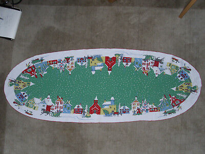 """Vintage Christmas Small Cotton Table Runner Oval Shape 48.5"""" L x 17.5"""" W"""