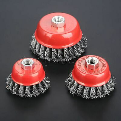 """2.5-4"""" Metal Steel Wire Cup Brush Wheel Twist Knot For Angle Grinder Deburring"""