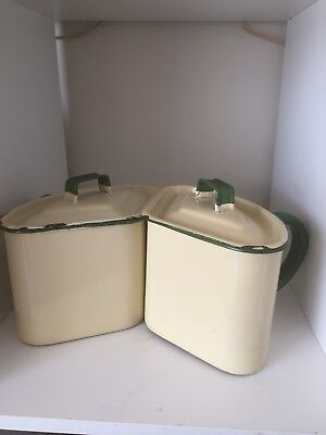 Vintage 2 Judge Ware Green And Cream Enamel Triangle Large Pots Genuine Old Ware