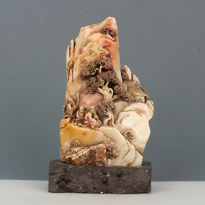 China Exquisite Hand carved landscape people Carving Shoushan Stone statue seal