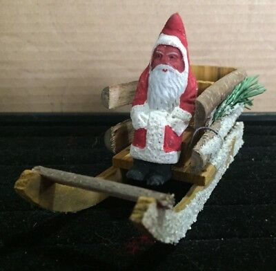 Vintage Paper Mache Santa In Wooden Sleigh Candy Holder ?????