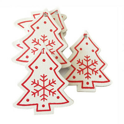 Christmas Tree Wooden Pendant Wall Hanging Ornament 10Pcs  Xmas Party Supply G