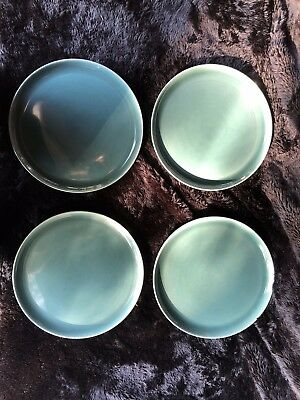 Mid-Century Russel Wright Pottery -  Set of 4 Seafoam Dinner Plates
