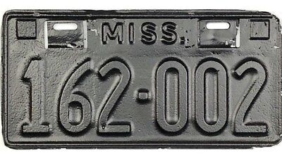 1934 Mississippi License Plate #162-002 Locking Tab Date Strip Type No Reserve
