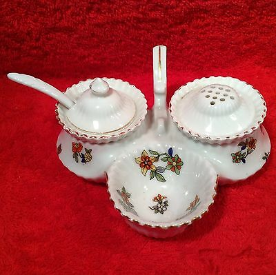 Antique Czech Open Salt Pepper Condiment Set c.1918, p187  ANTIQUE GIFT IDEA!!