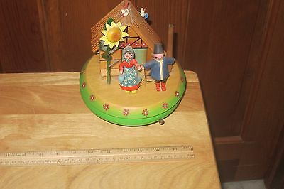 Beautiful Large Hand Crafted Wooden Music Box Village Dr. Zhivago Look! Working!
