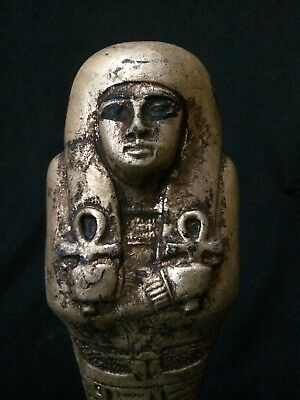 ANCIENT EGYPTIAN ANTIQUES STATUE Ushabti Shabti Mummy Carved Stone Gold Paint BC
