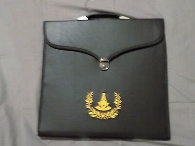 Past Master Masonic Black Apron Case Freemason Lock Lodge Jewels NEW!
