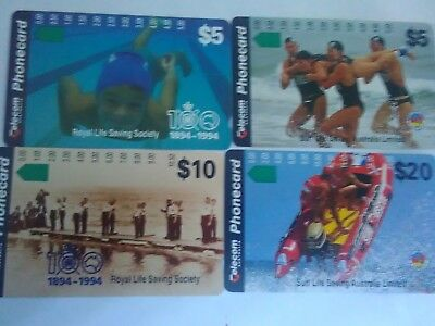 Set X 4 Mint Phonecards Surf Lifesaving Australia