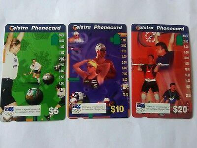 Set X3 1 Hole Phonecards Olympic Games Prefix 1137 1139 1144