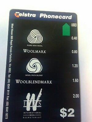 Scarce $2 Mint Woolmark Phonecard Prefix 1167
