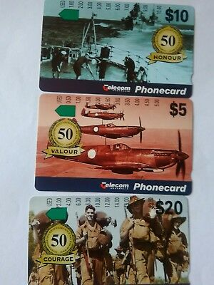 Set X 3 Mint Phonecards 50 Years Since World War 2 Prefix 800 803 806
