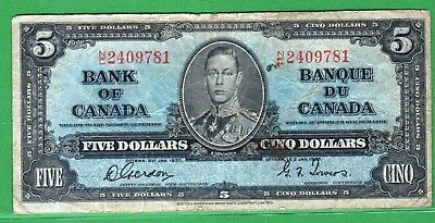 "Canada-1937 Bank of Canada 5 Dollars note P60b/BC-23b VG+ ""KIng George VI"""