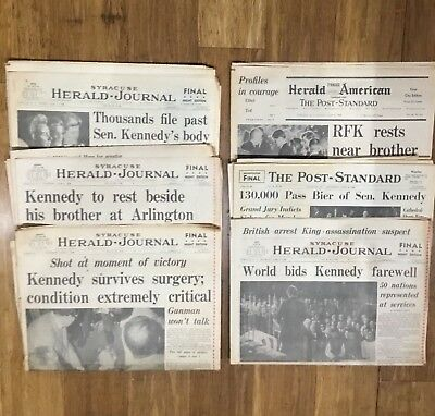 LOT OF 6 RFK ASSASSINATION NEWSPAPERS June 5 thru June 9, 1968