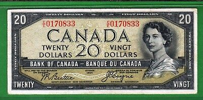 """Canada - 1954 Bank of Canada 20 Dollar Banknote P70b/BC-31b F/aF+ """"DEVIL""""S FACE"""""""